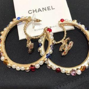 CHANEL RESIN GLASS STRASS HOOP EARRINGS